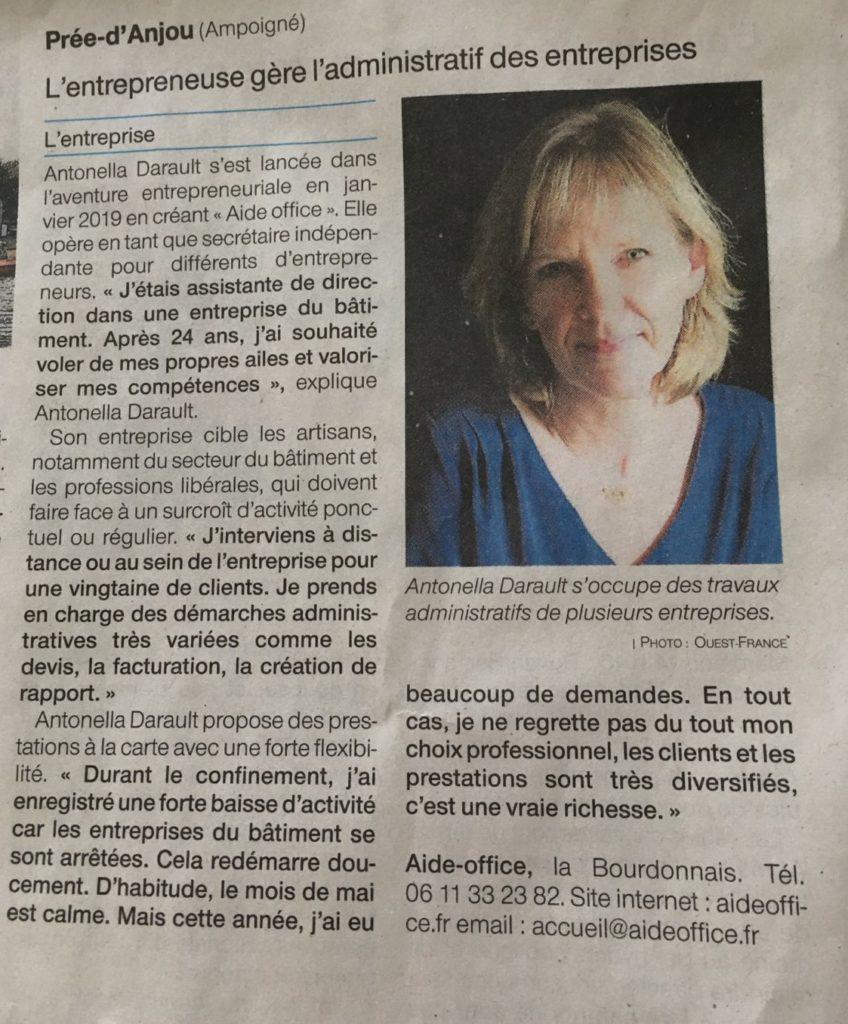 article Ouest France administratif des entreprises Aide Office