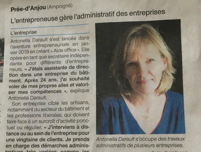 article Ouest France sur Aide Office assistante indépendante